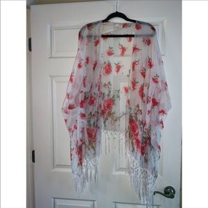 Charming Charlie cardigan shawl with roses